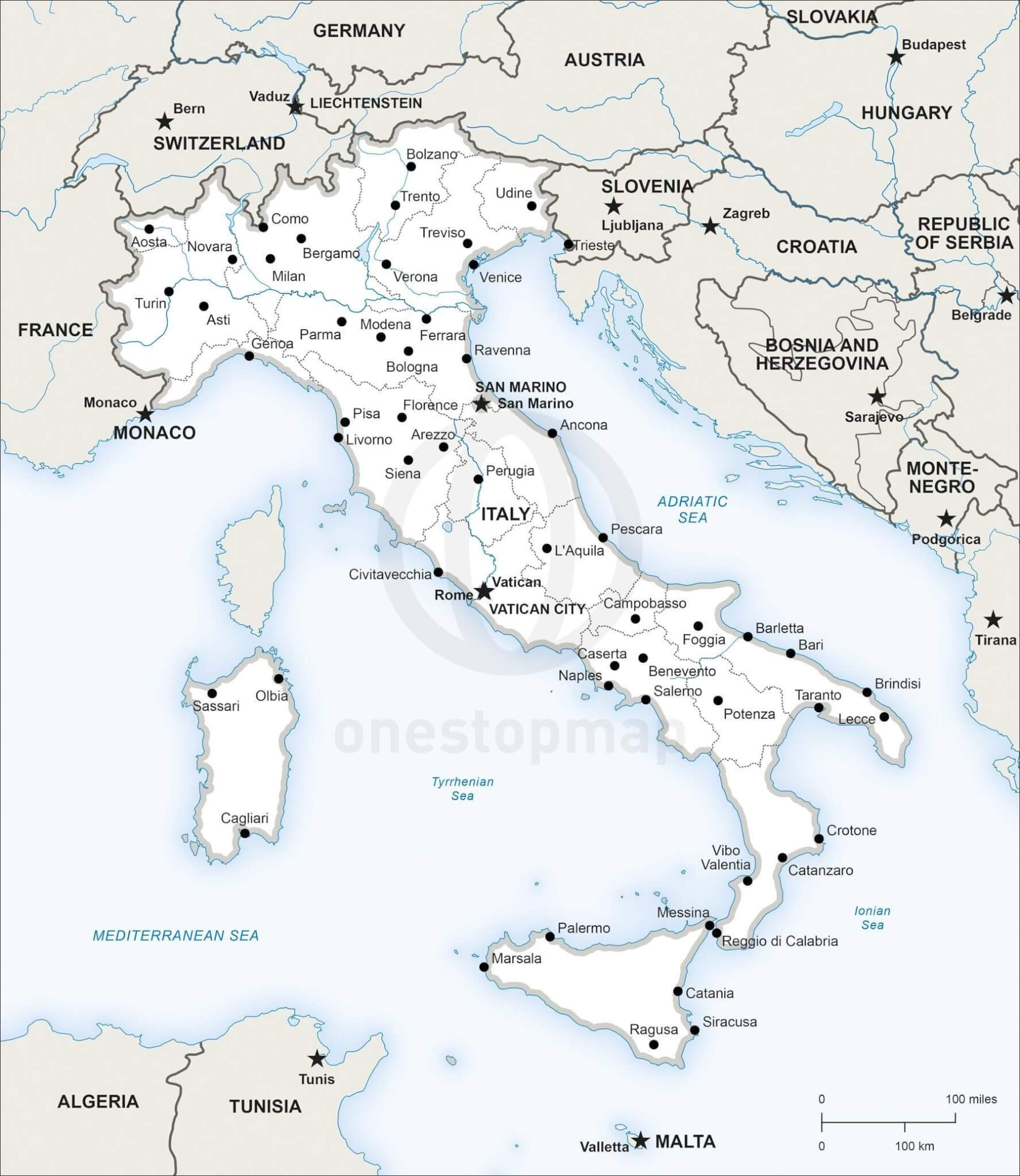 Vector Map Of Italy Political One Stop Map - Political map of italy