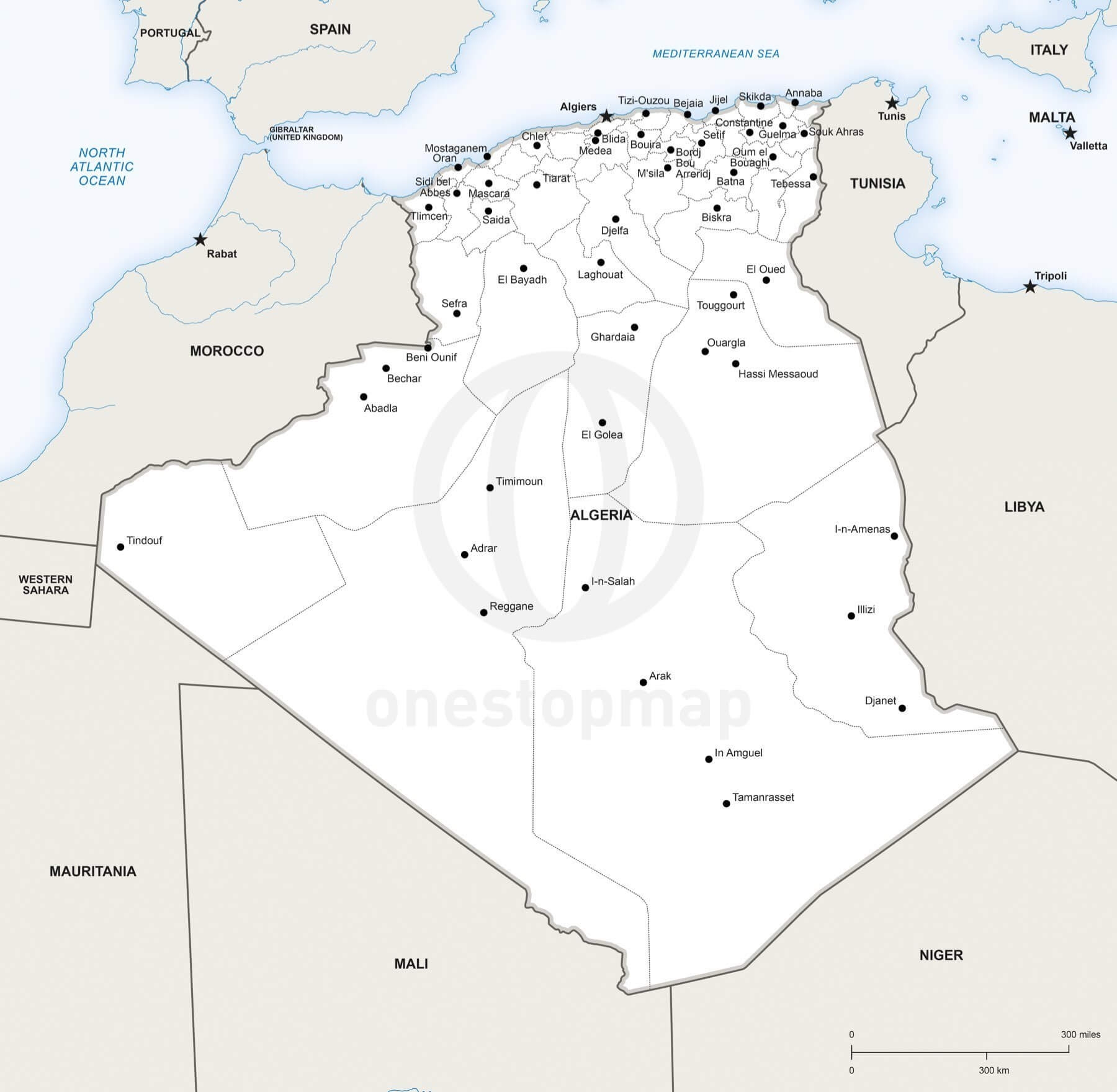 Vector Map of Algeria Political One Stop Map