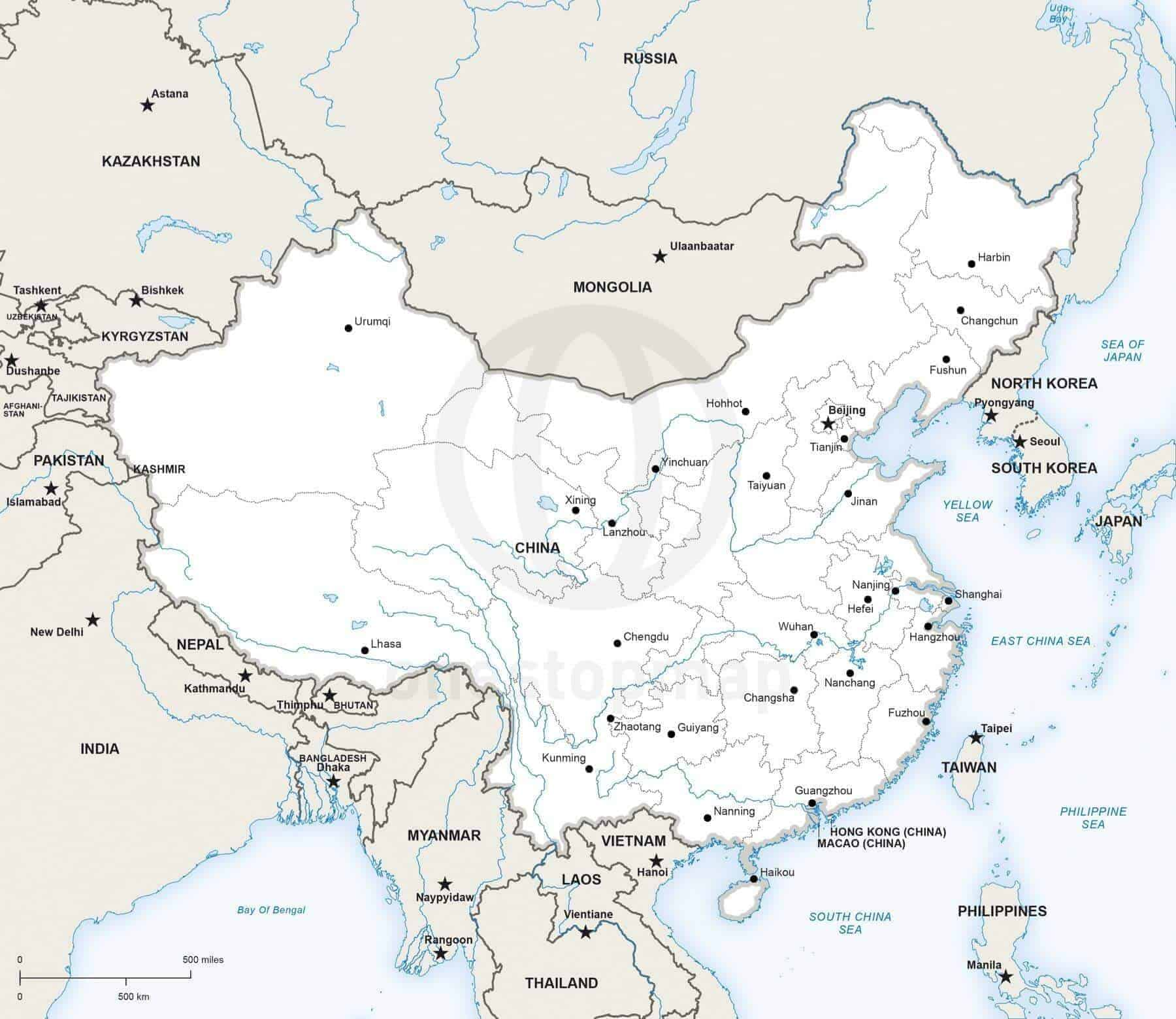 Vector Map Of China Political One Stop Map