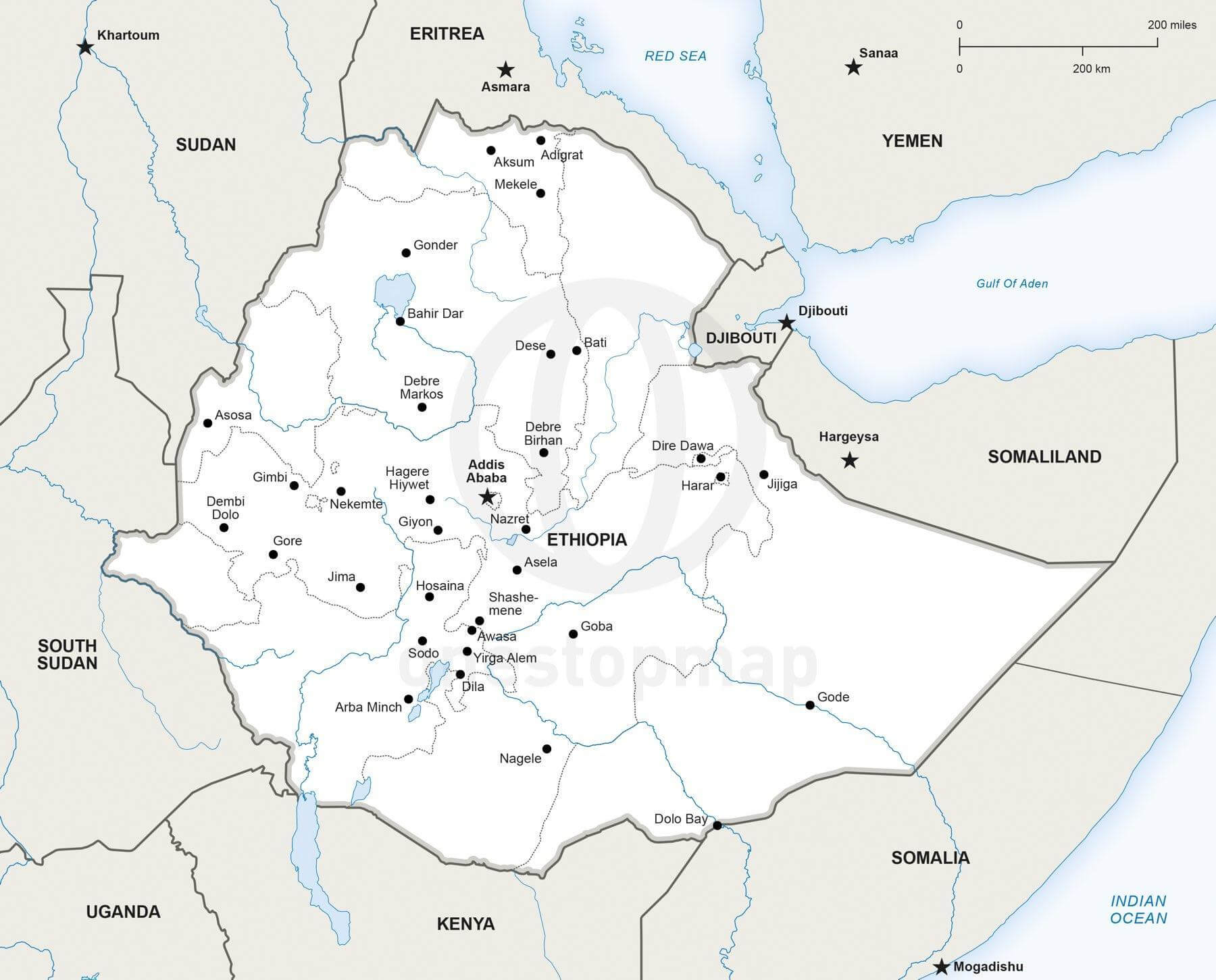 Map of Ethiopia political