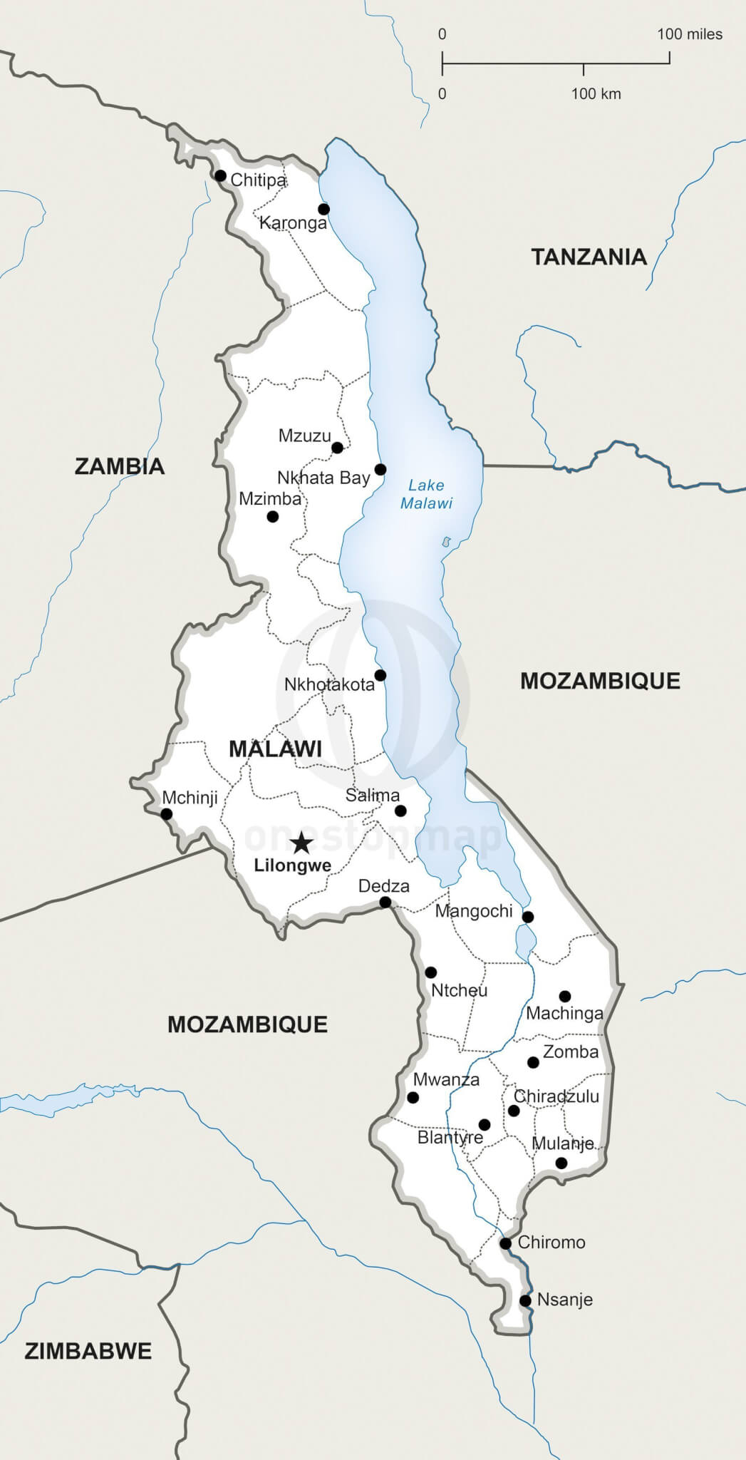 Vector Map of Malawi Political One Stop Map