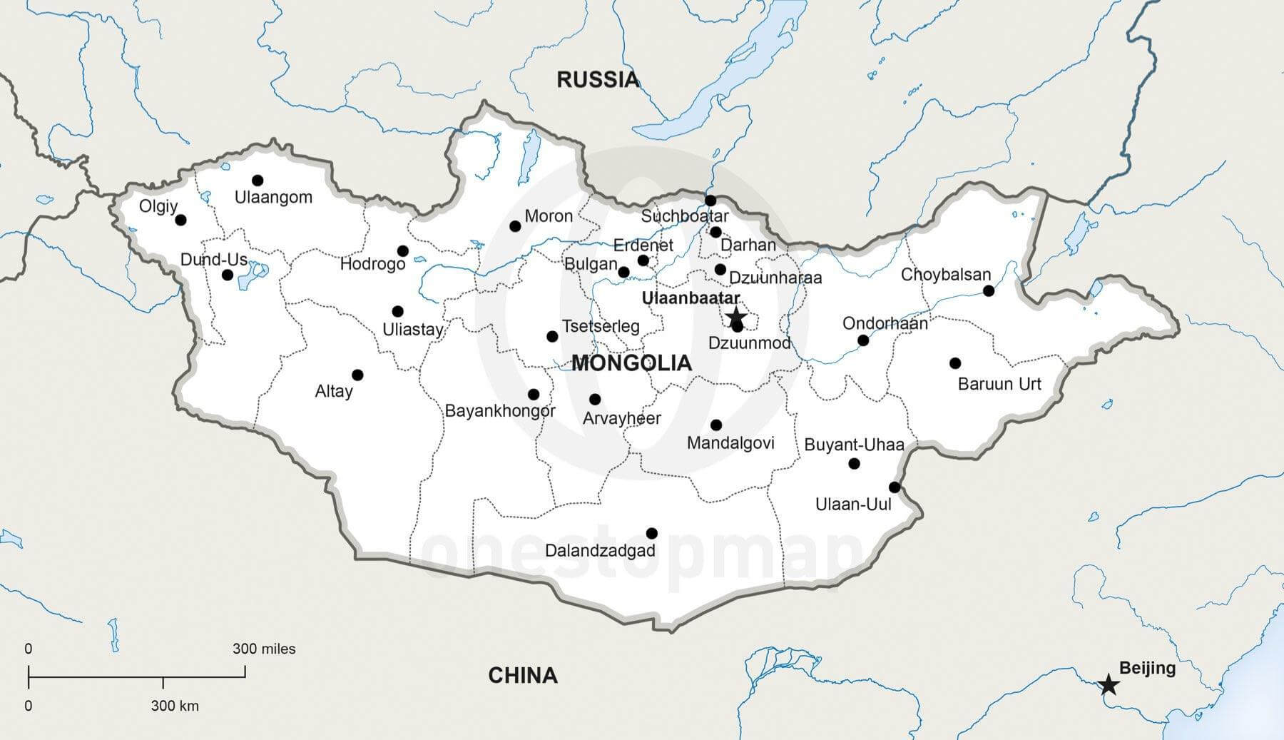 Vector Map Of Mongolia Political One Stop Map - Mongolia map
