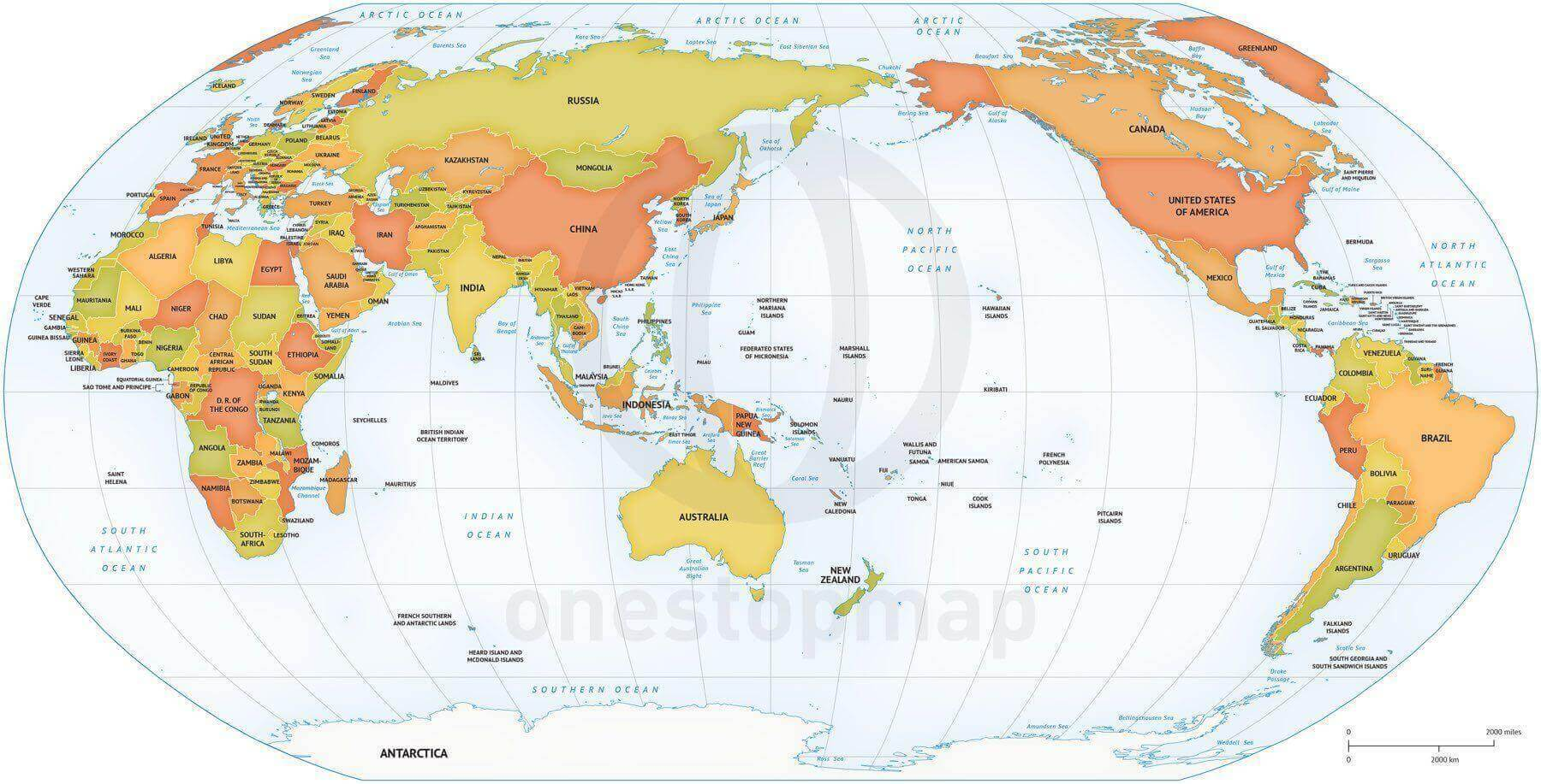image about Printable Map of World identified as Map of International political Robinson Asia-Australia based