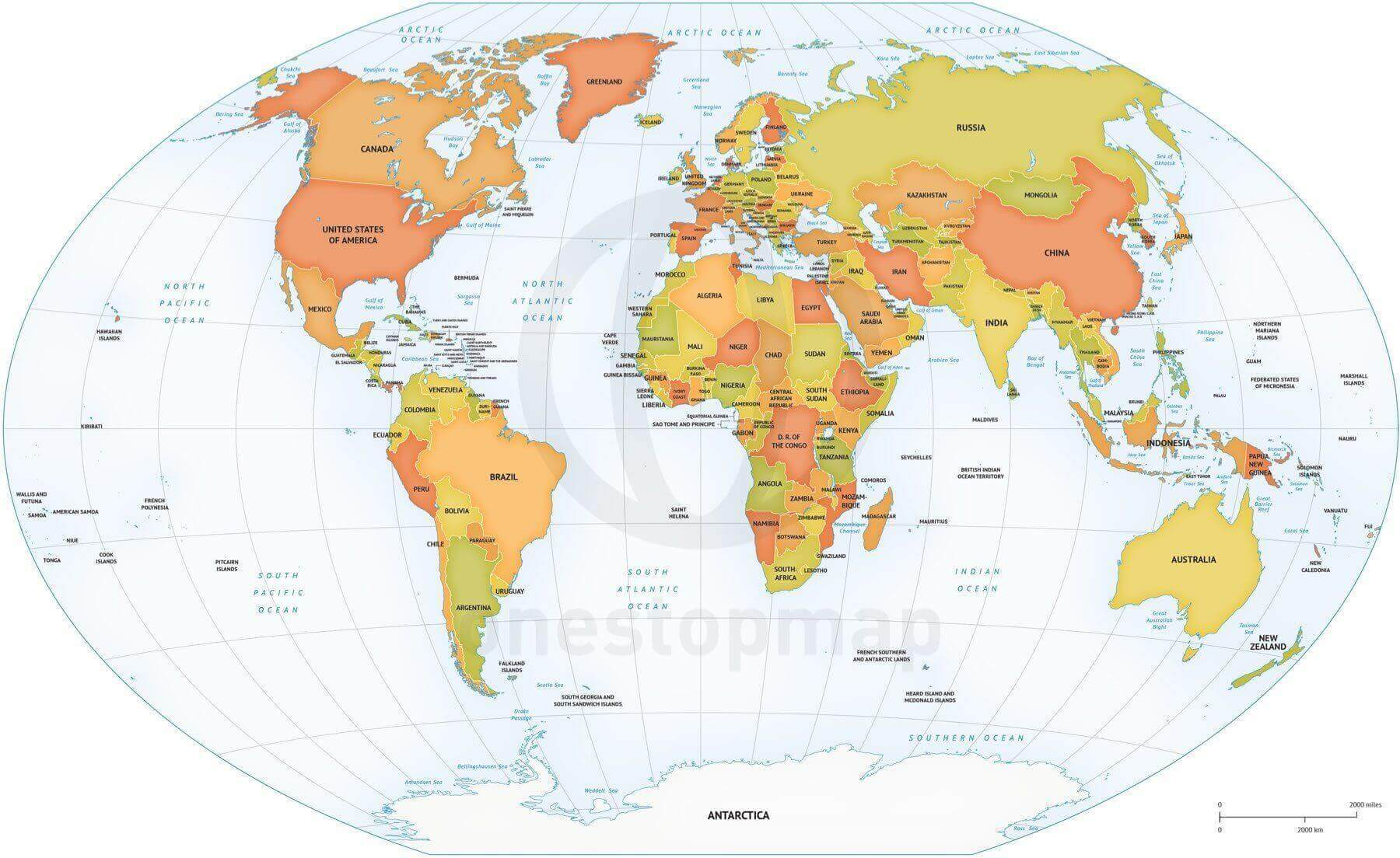 photo about Printable Map of World called Map of Environment political Winkel Tripel Europe-Africa based