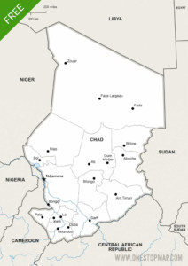 Free Vector Map of Chad Political One Stop Map