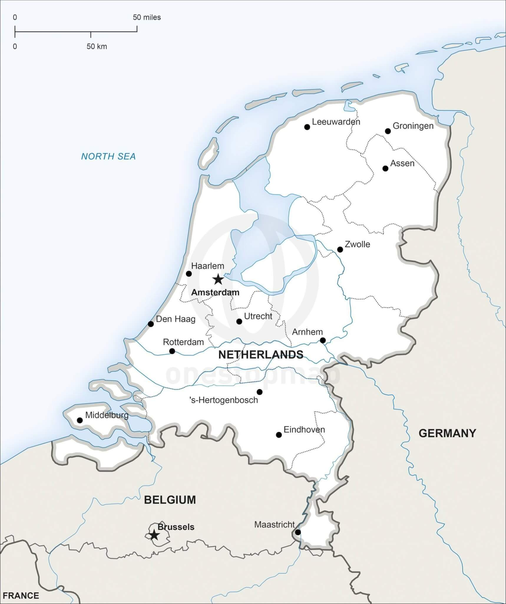 Vector Map of Netherlands Political | One Stop Map