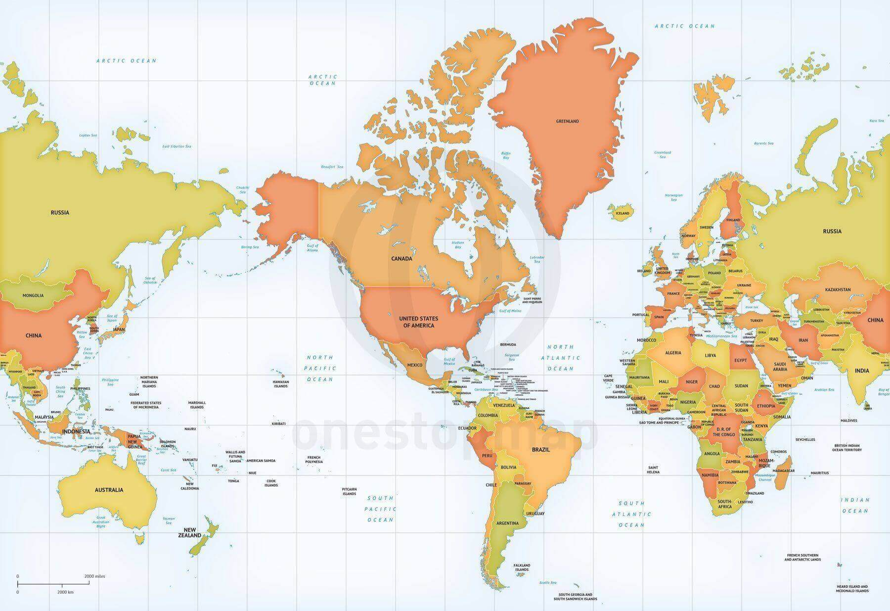 Map of World political Mercator America centered