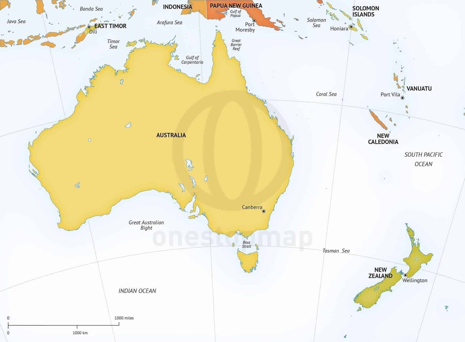 Map Eastern Australia.Map Of Australia New Zealand Political