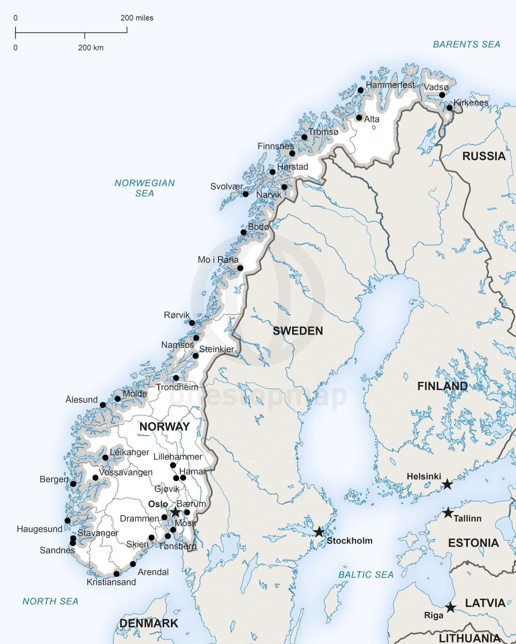 Vector Map Of Norway Political One Stop Map - Norway map outline