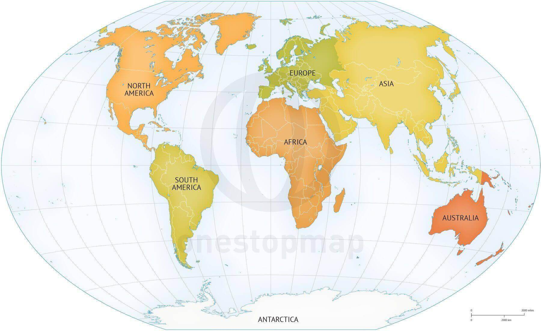 Vector Map of World Continents Political One Stop Map