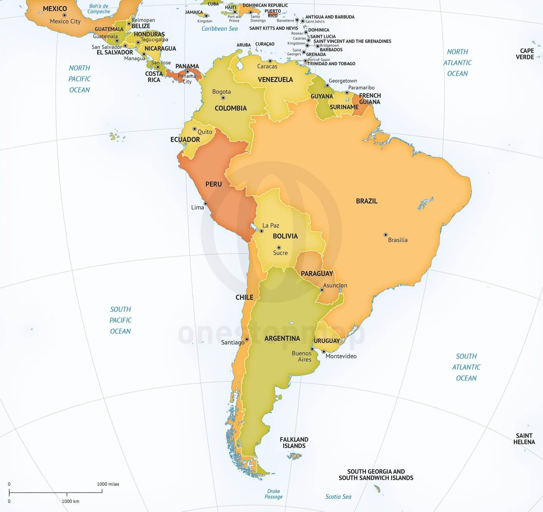 Vector Map South America Continent Political | One Stop Map