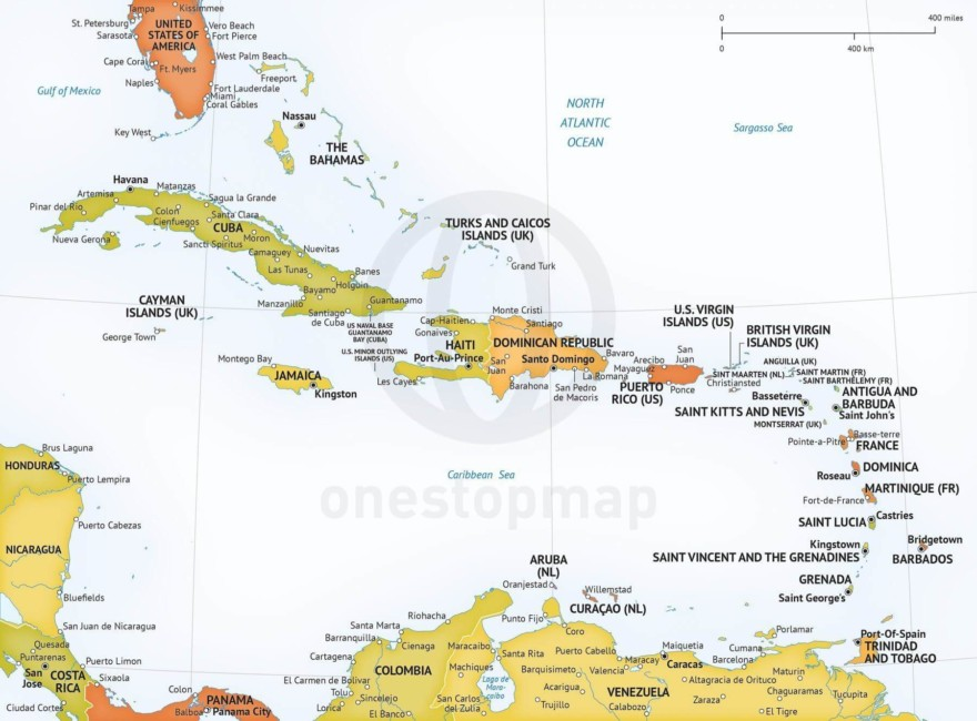 Map of Caribbean political