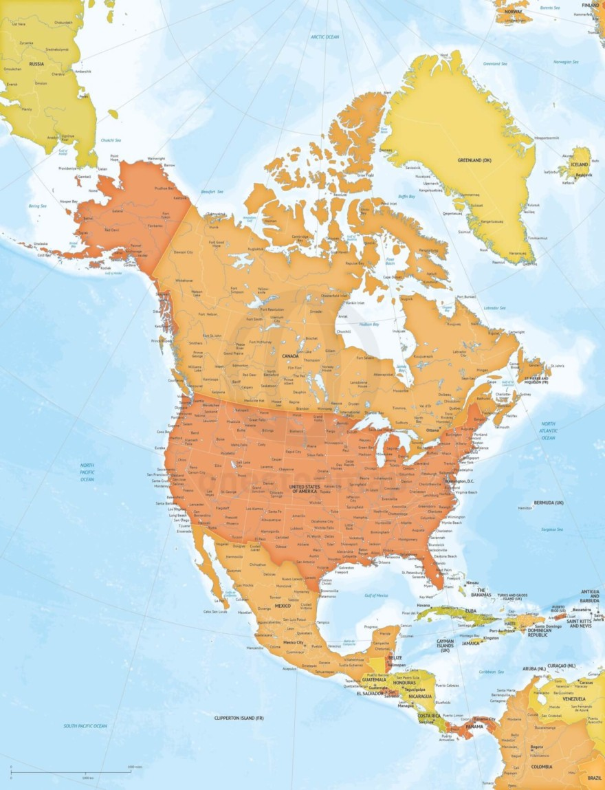 Map of North America continent political bathymetry large