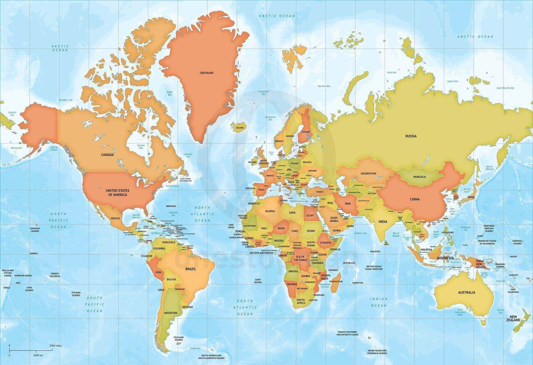 picture about Printable Map of World referred to as Map of Globe political bathymetry Mercator Europe-Africa dependent
