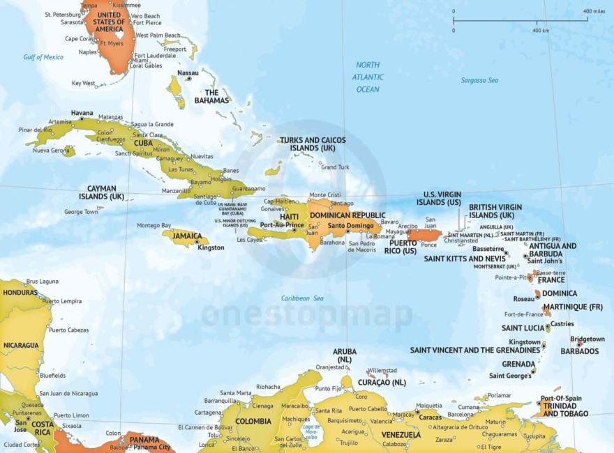 Map of Caribbean political bathymetry