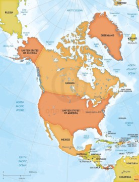 Map of North America continent political bathymetry