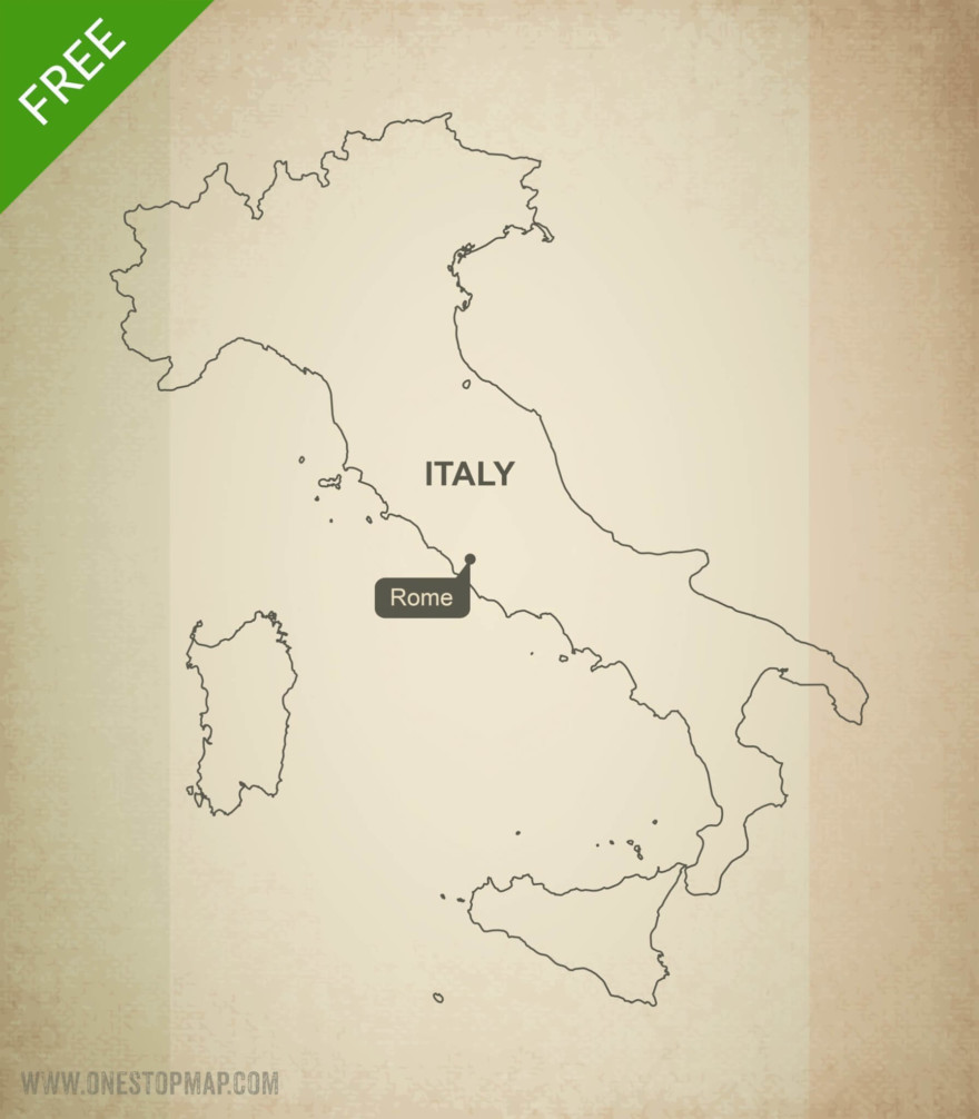 Map of Italy outline