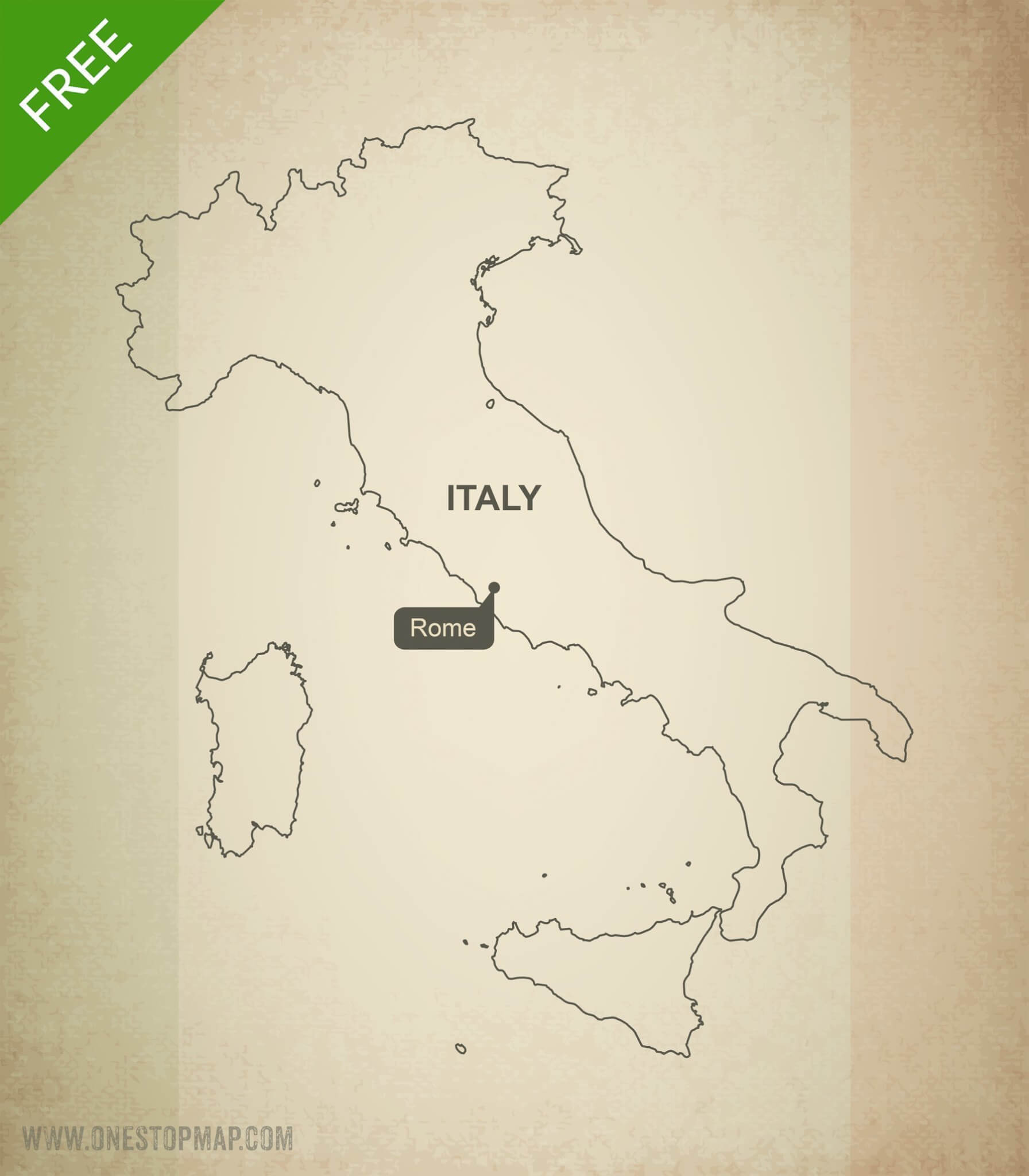 Printable Map Of Italy Free.Free Vector Map Of Italy Outline One Stop Map