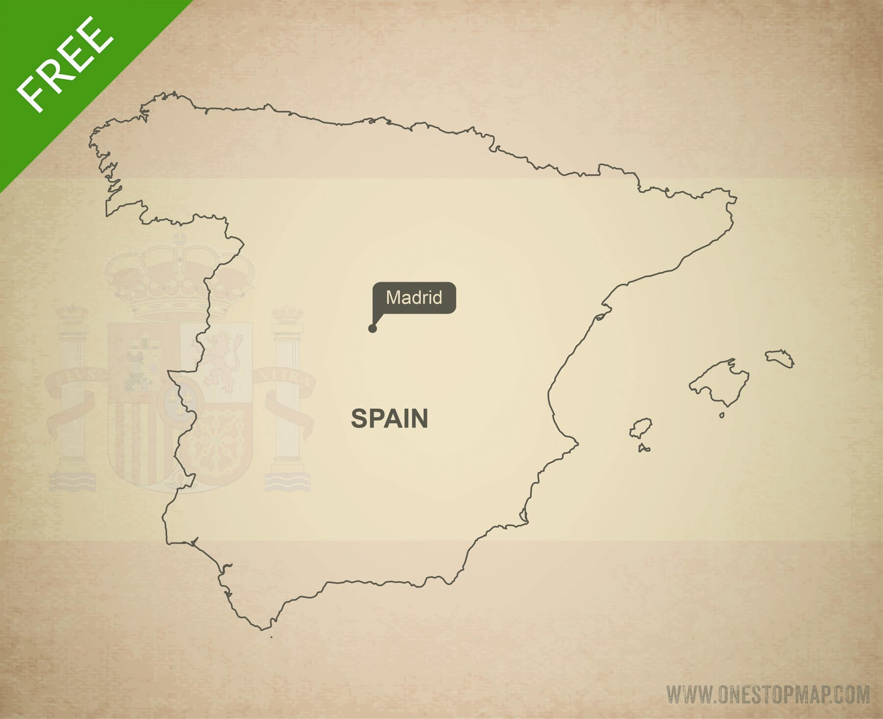 Printable Map Of Spain.Free Vector Map Of Spain Outline One Stop Map