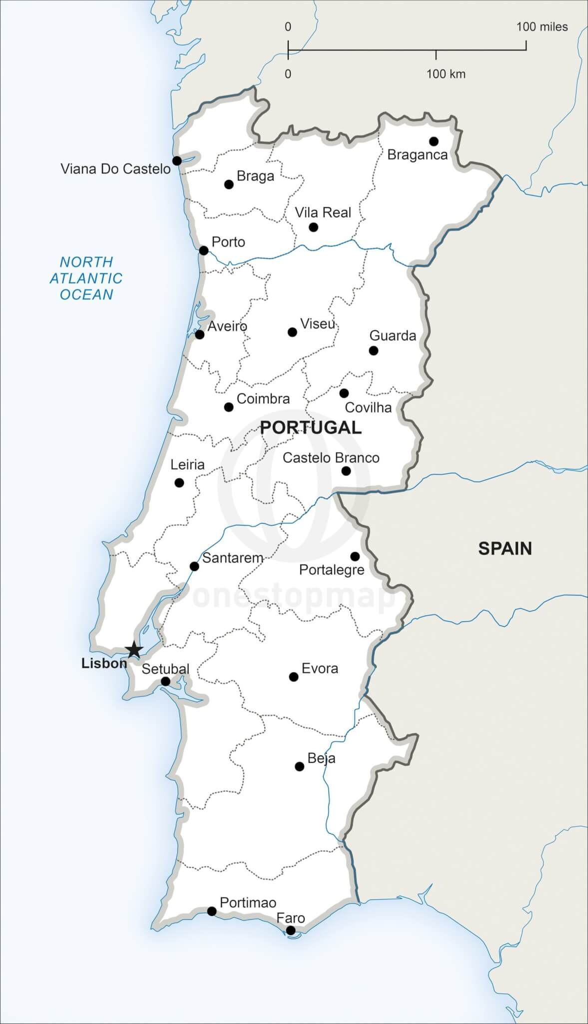 Free Vector Map Of Portugal Outline One Stop Map - Portugal map