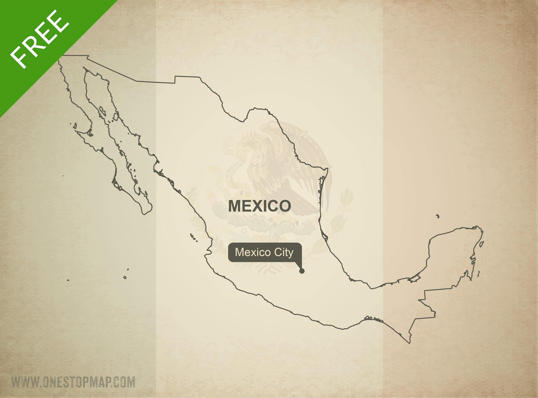 Map of Mexico outline