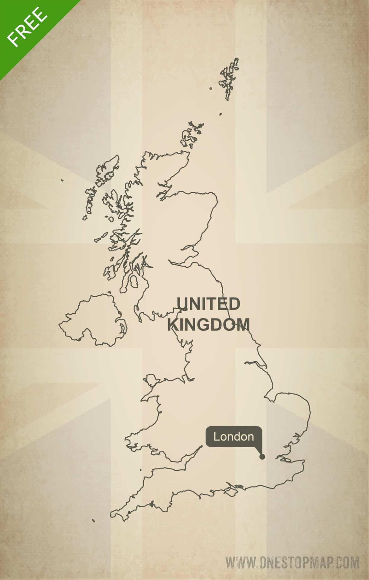 Printable Map Of Uk.Free Vector Map Of United Kingdom Outline One Stop Map