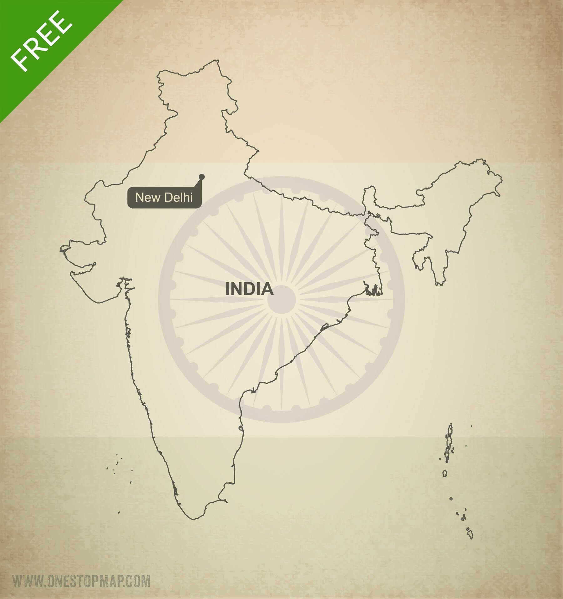 Free Vector Map Of India Outline One Stop Map