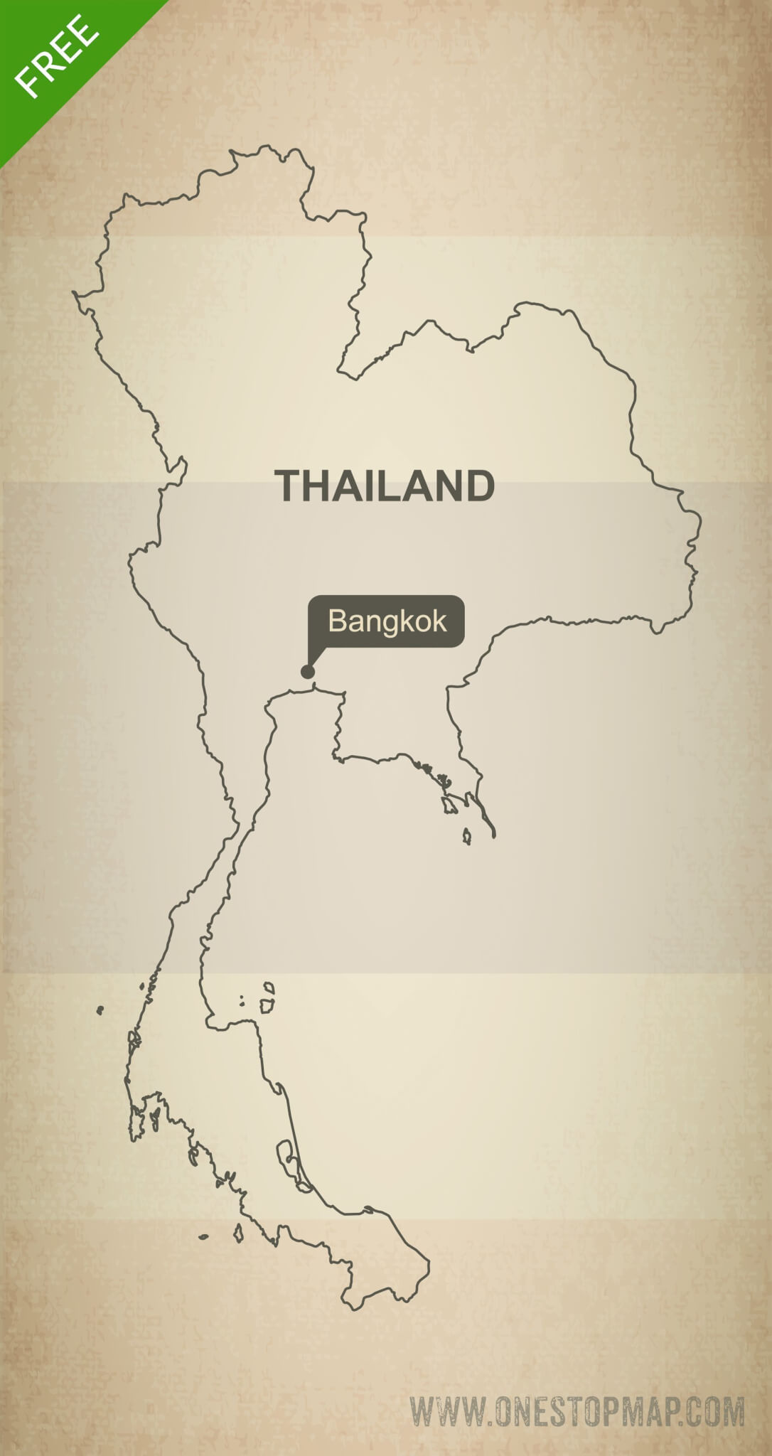Free Vector Map Of Thailand Outline One Stop Map - Thailand blank map