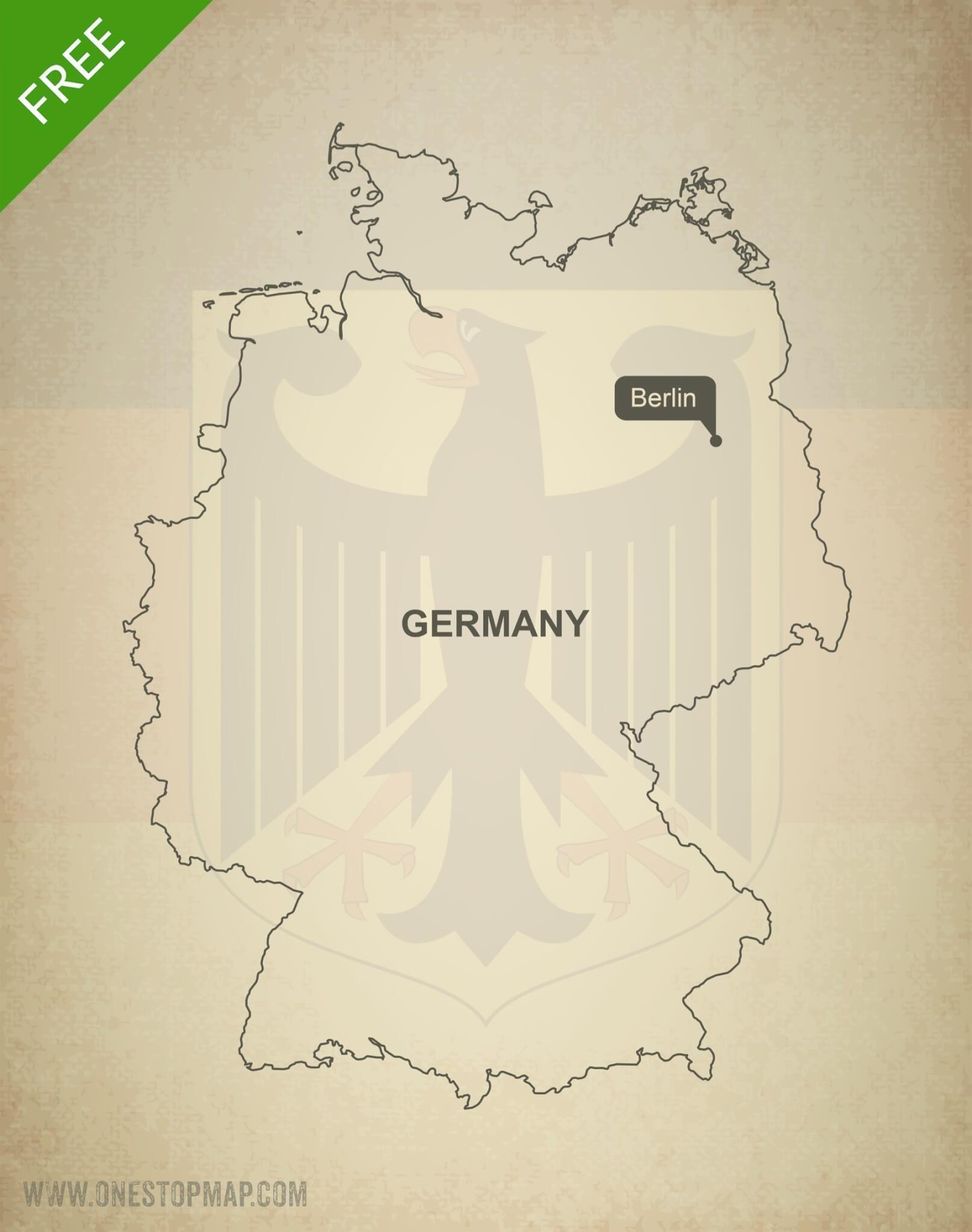 Printable Map Of Germany.Free Vector Map Of Germany Outline One Stop Map