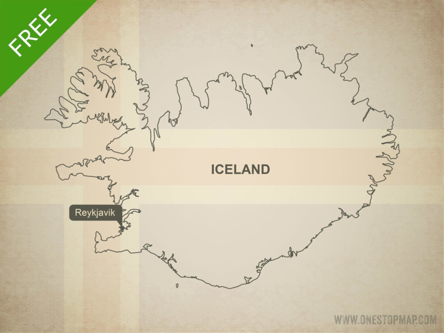 Map of Iceland outline