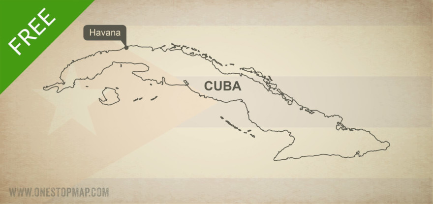 Map of Cuba outline