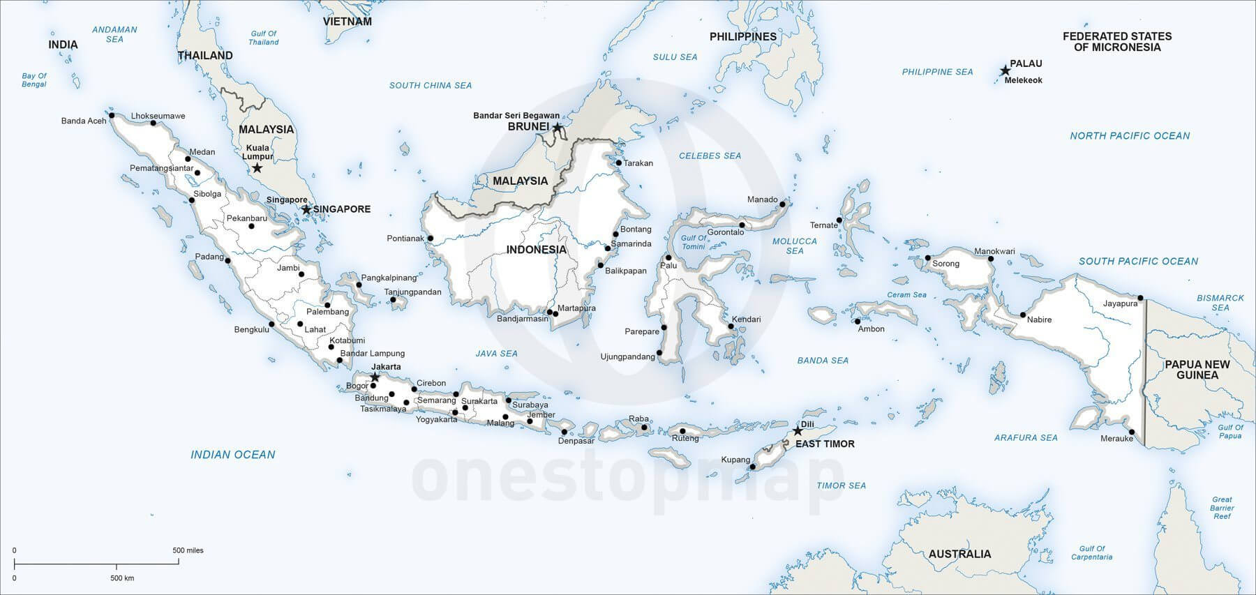 Vector Map of Indonesia political One Stop Map