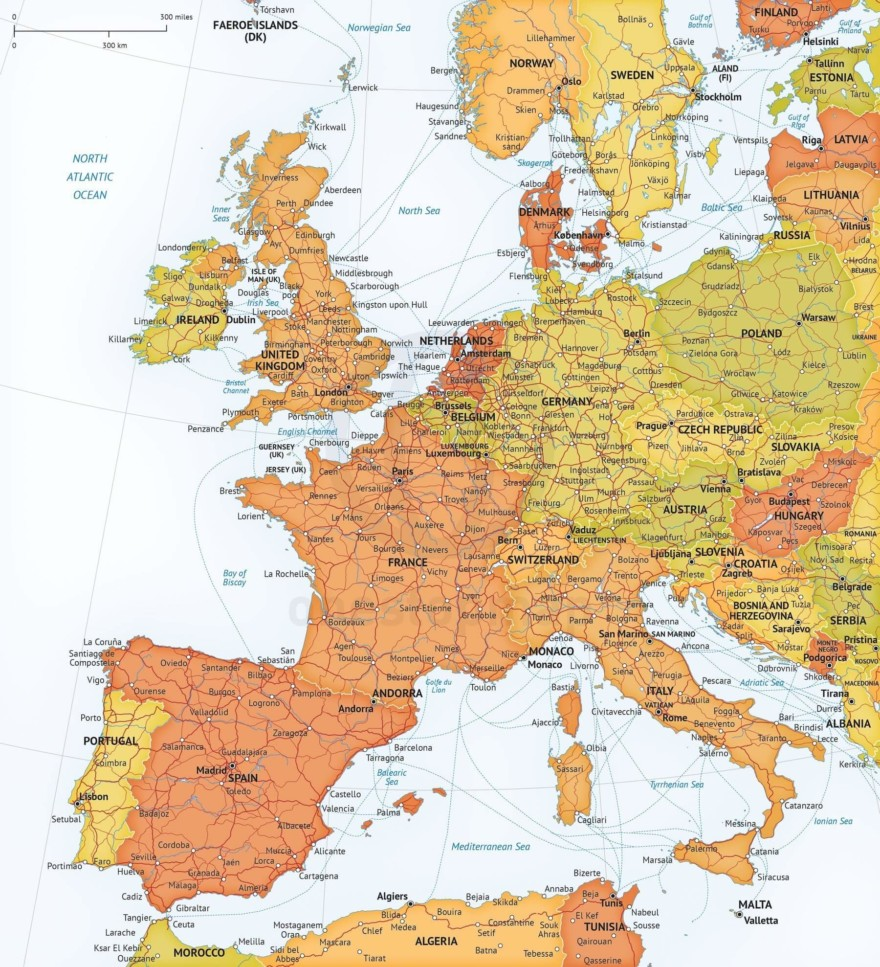 Map of Western Europe political, roads and ferries