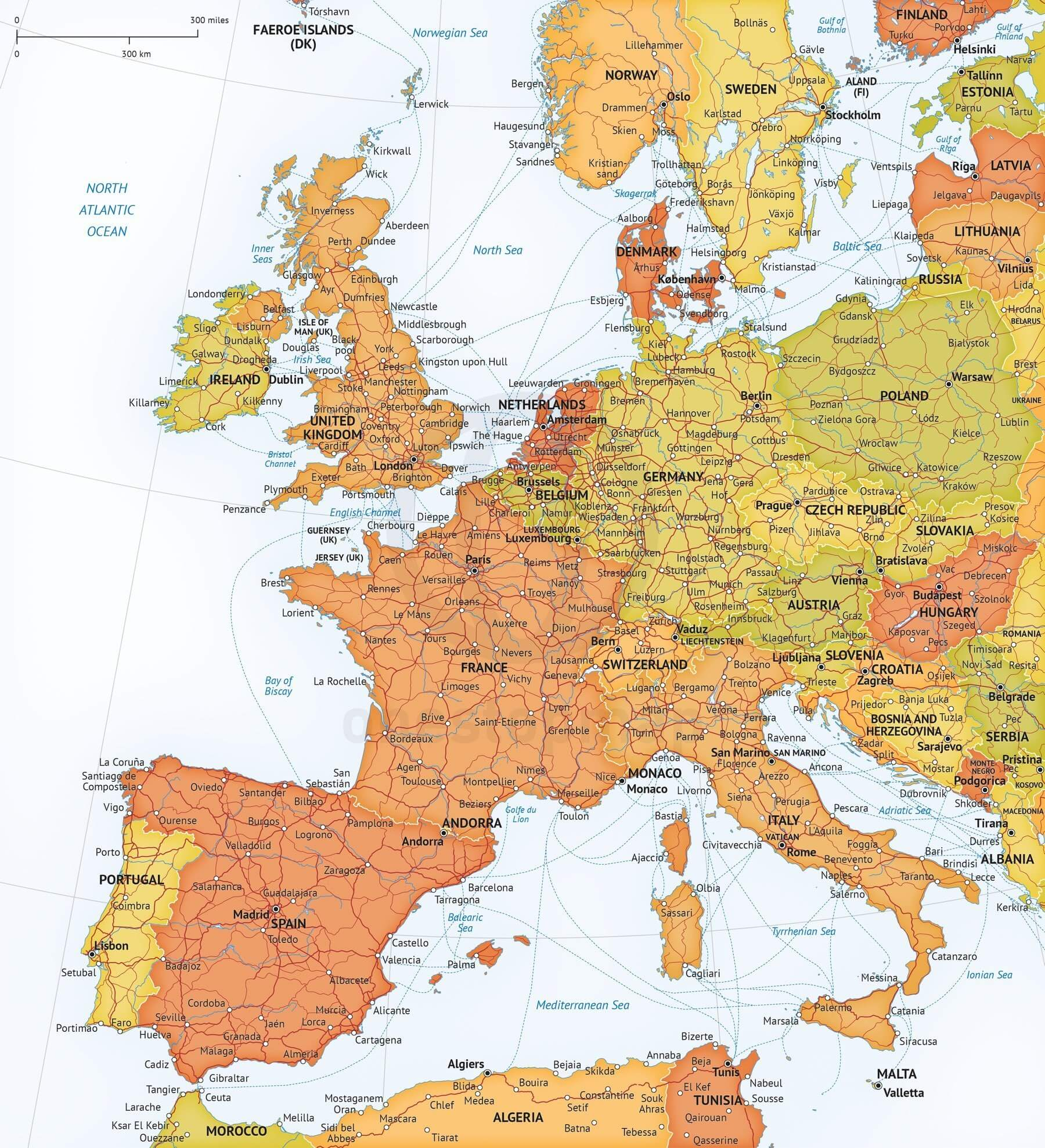 Vector Map Western Europe Roads Ferries | One Stop Map