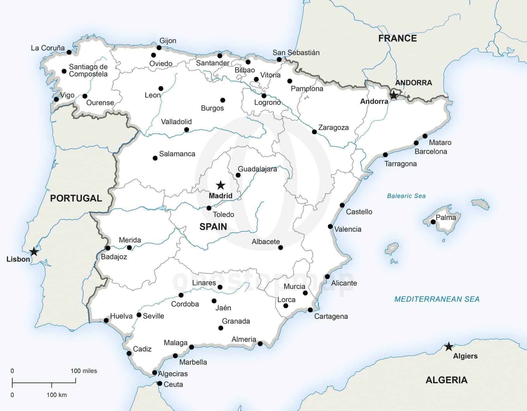 Printable Map Of Spain.Map Of Spain Political