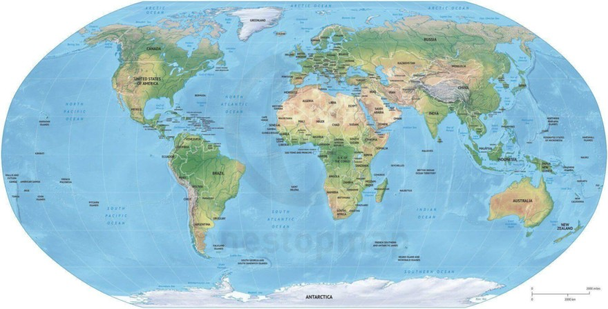 Map of World political shaded relief Robinson Europe-Africa centered