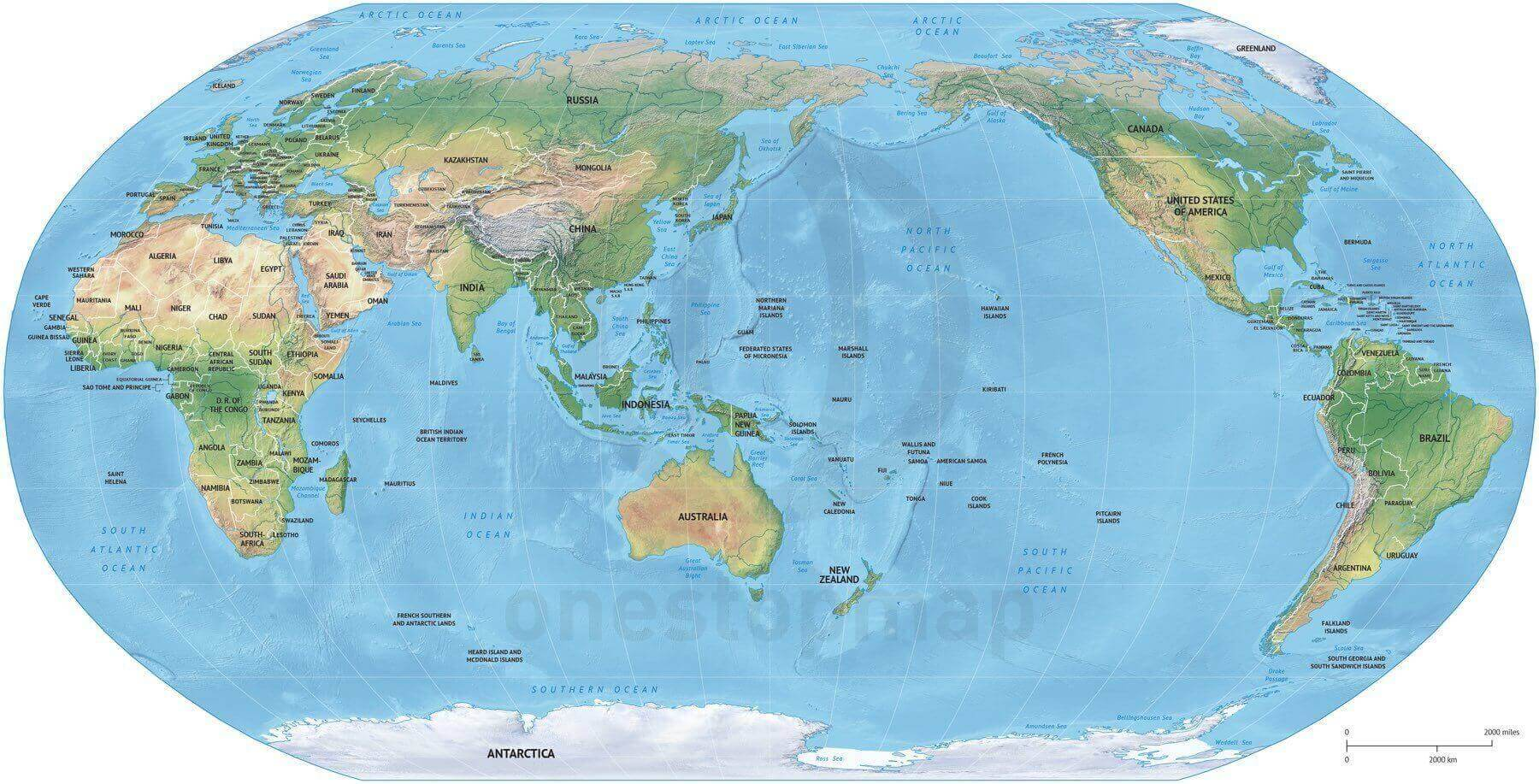 Vector Map World Relief Robinson Asia Australia One Stop Map