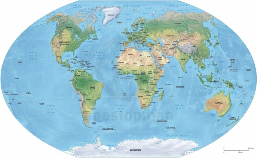 Map of World political shaded relief Winkel Tripel Europe-Africa centered