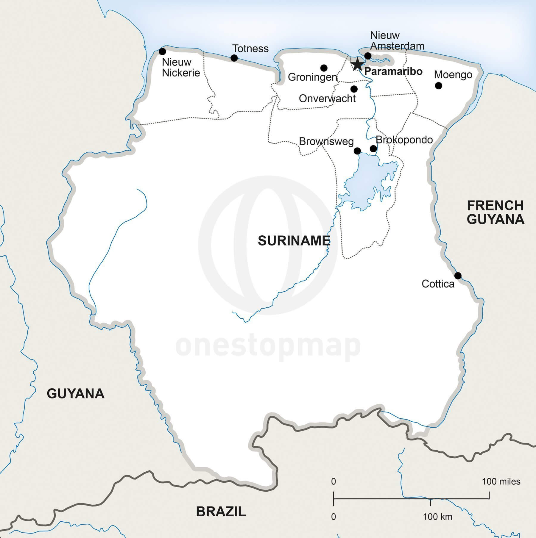 Vector Map of Suriname Political One Stop Map