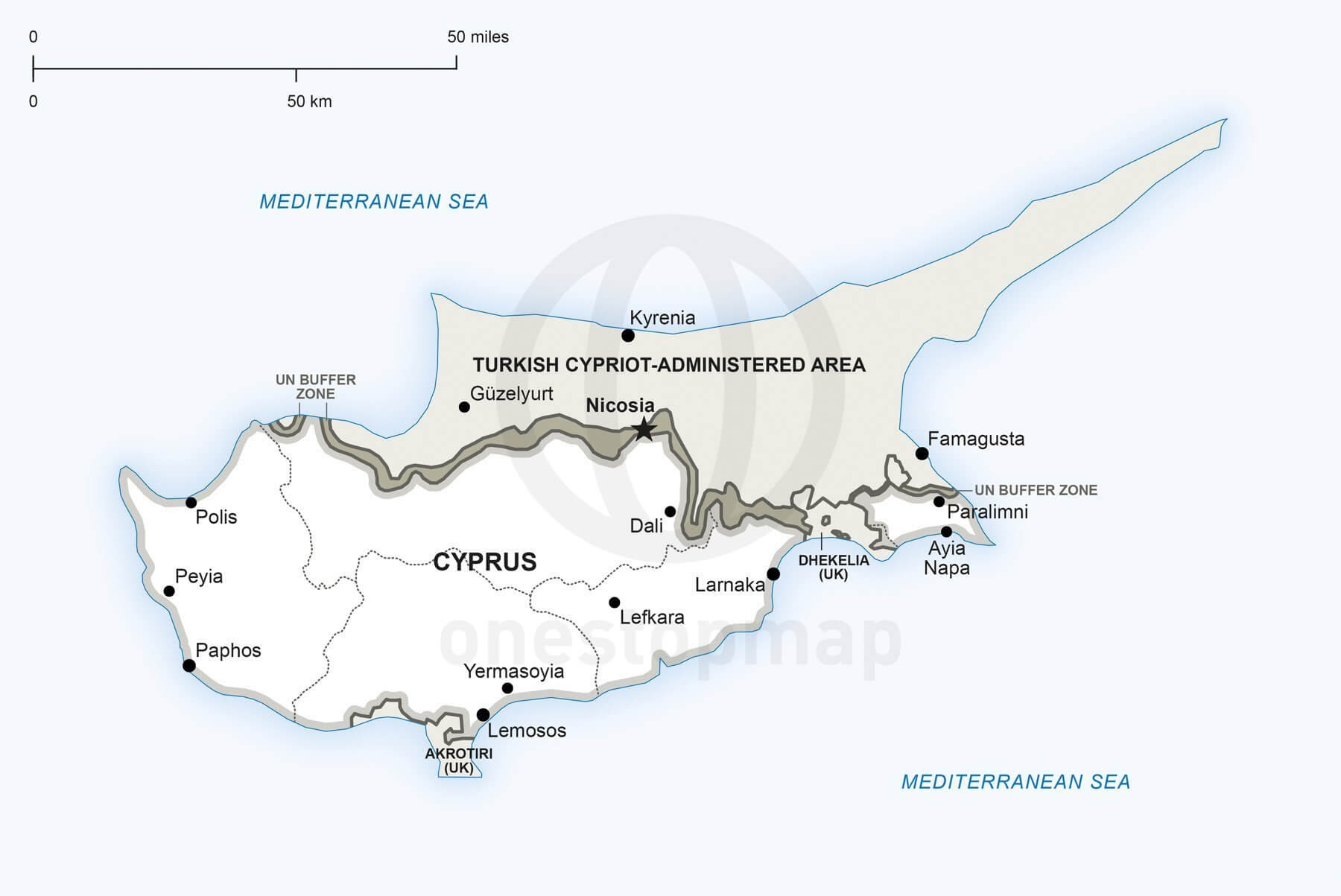 Map of Cyprus political