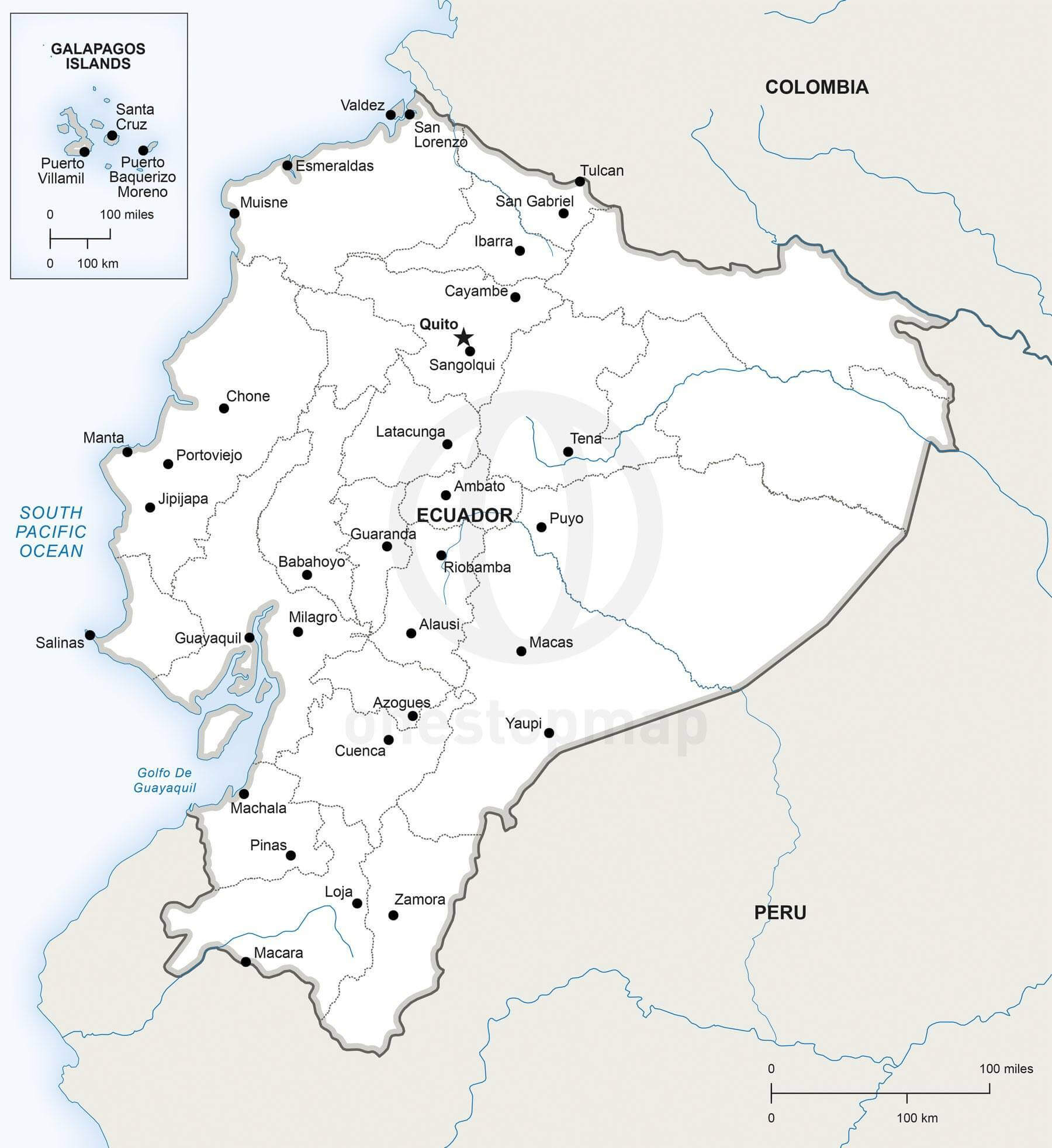 Vector Map of Ecuador political One Stop Map