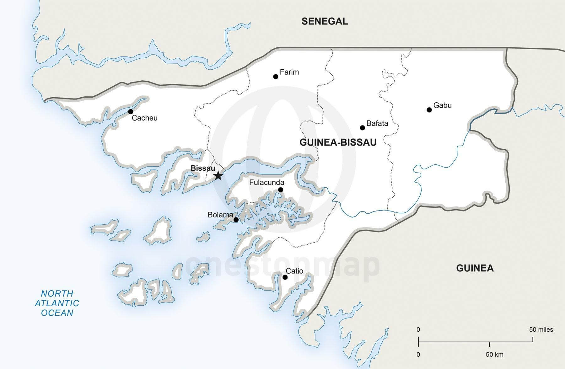 Map of Guinea-Bissau political