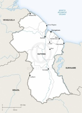 Map of Guyana political
