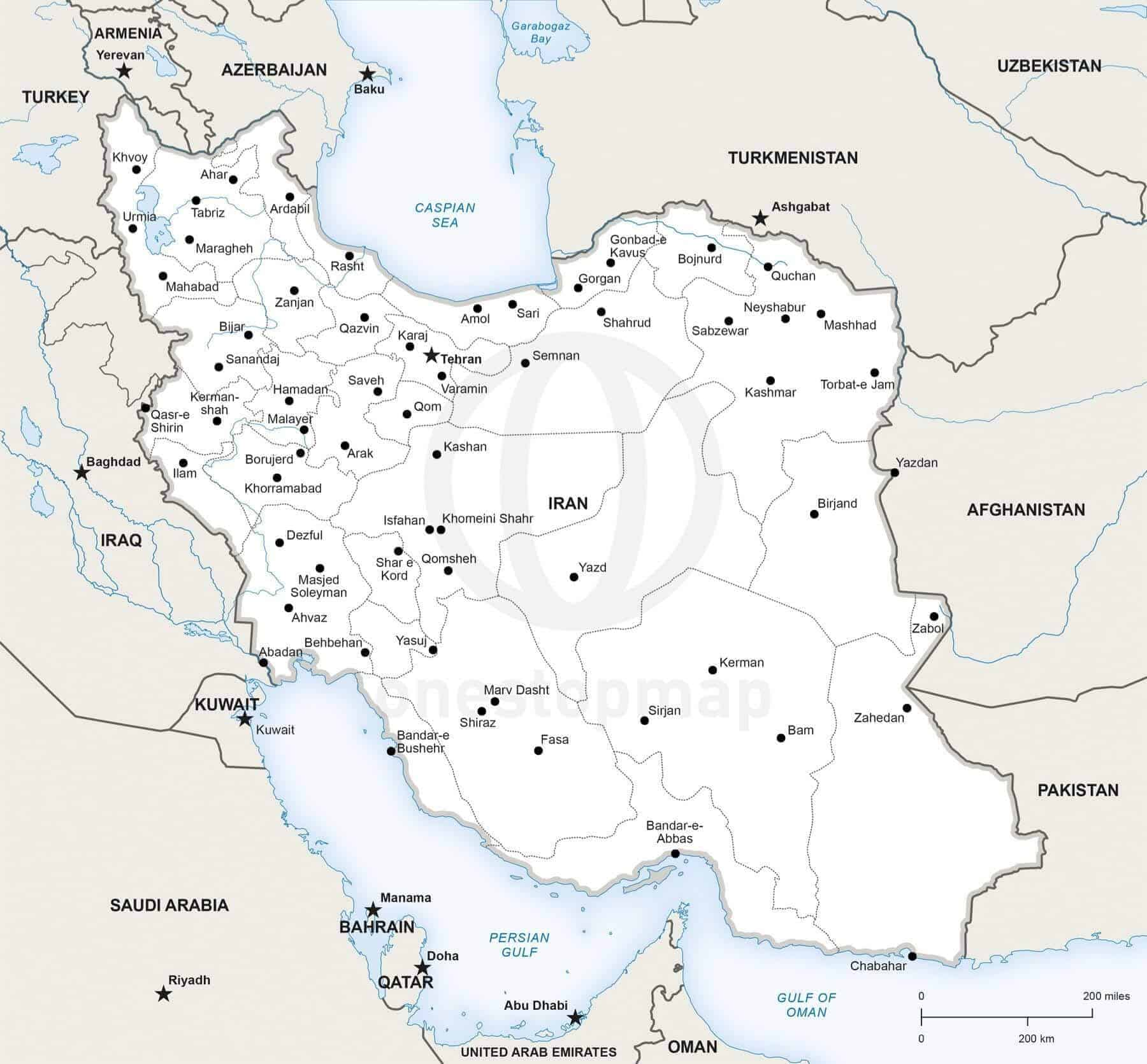 Vector Map Of Iran Political One Stop Map - Map of iran