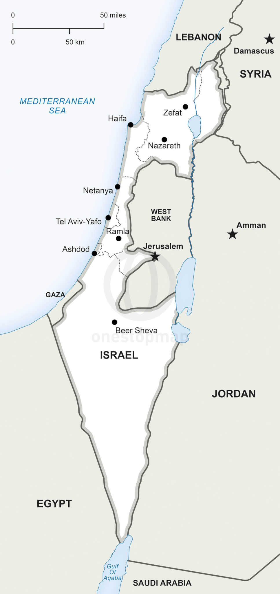 Vector Map of Israel political One Stop Map