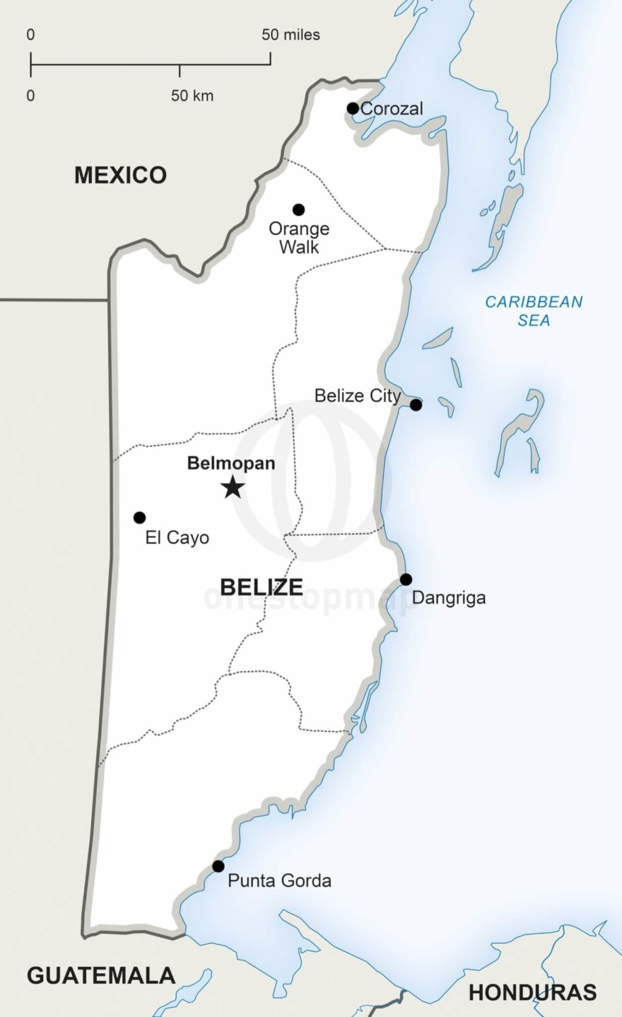 Map of Belize political
