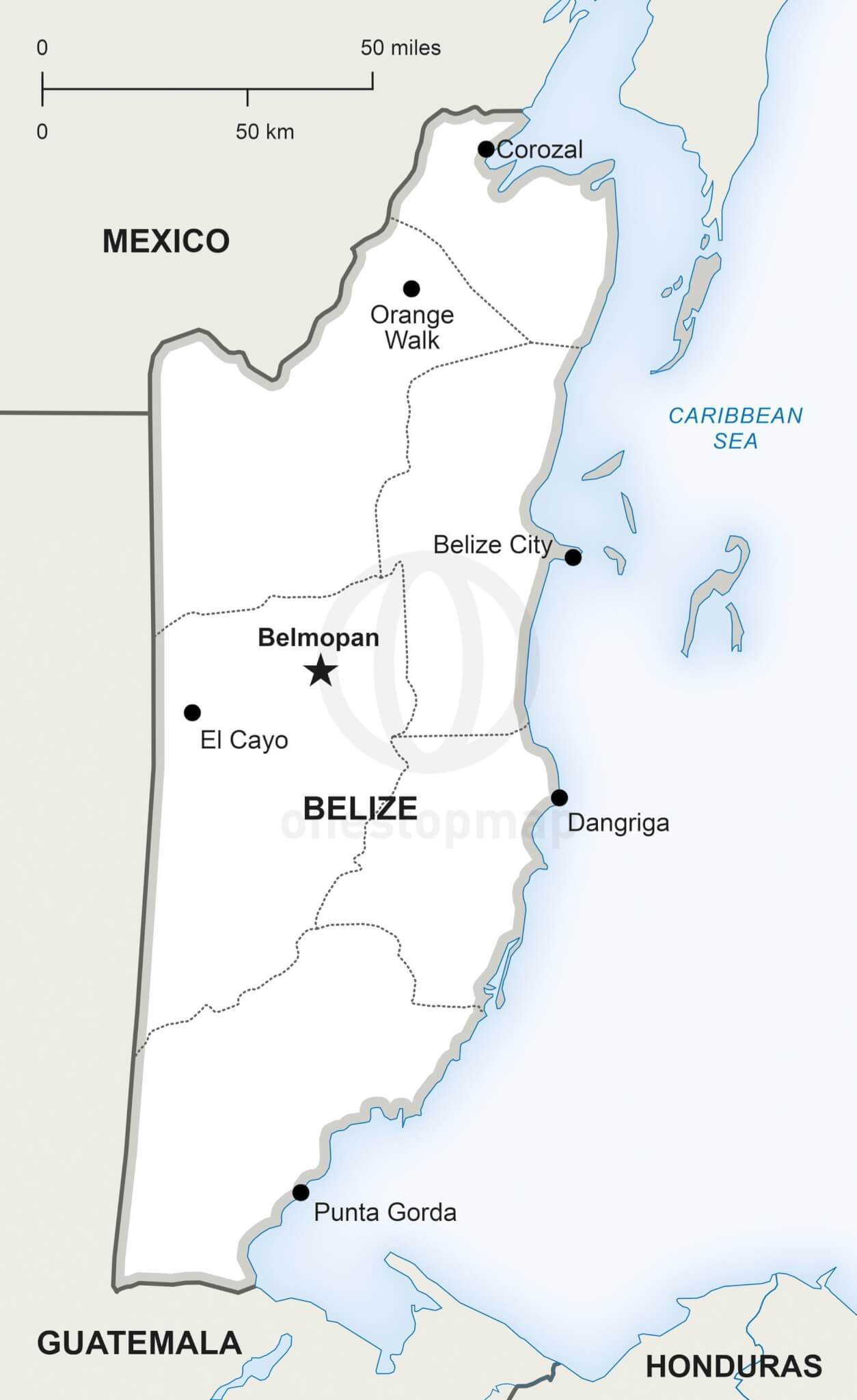 Belize Political Map.Vector Map Of Belize Political One Stop Map
