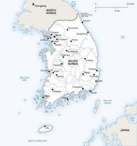 Map of South Korea political