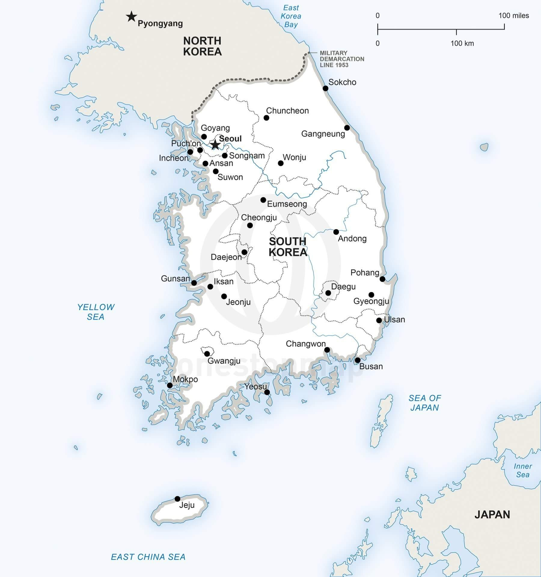Vector Map Of South Korea Political One Stop Map - Map of south korea