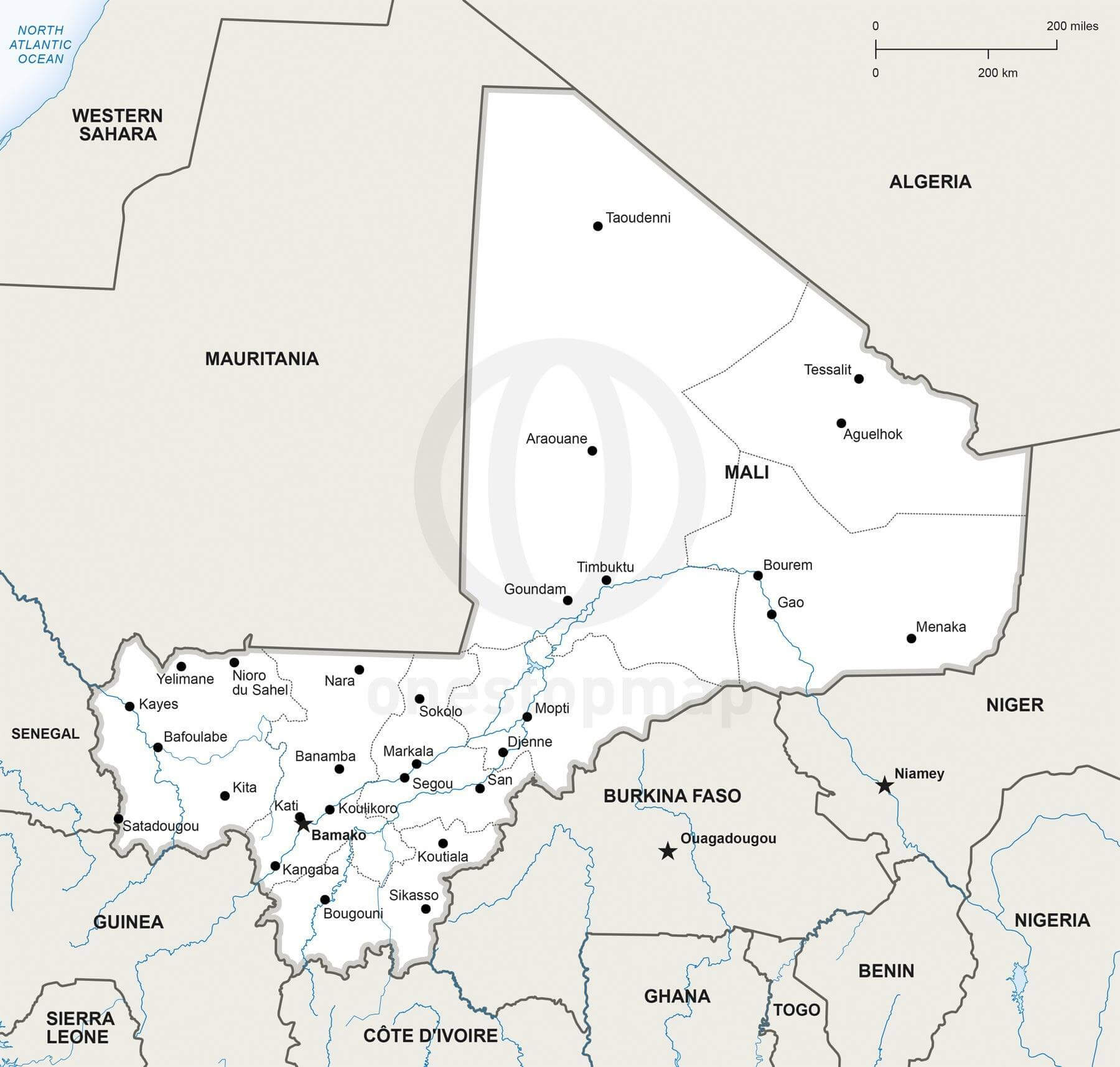 Vector Map Of Mali Political One Stop Map - Map of mali